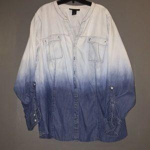 Lane Bryant Tops - Lane Bryant Ombré Denim Shirt